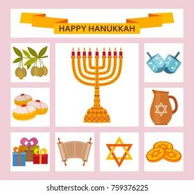 color hanukkah icons torah menorah 260nw