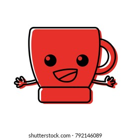 color happy coffee cup kawaii with arms