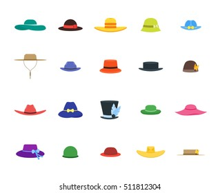 Color Hats Set Fashion for Men and Women. Flat Design Style. Vector  illustration of 7d7b56255fd9