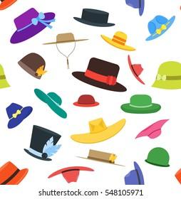 Color Hats Set Fashion for Men and Women Background Pattern. Flat Design Style. Vector illustration