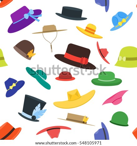 fb6232cd93571 Color Hats Set Fashion for Men and Women Background Pattern. Flat Design  Style. Vector illustration - Vector