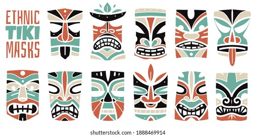 color hawaiian masks prints. Tiki idols heads, maya antique culture, traditional indigenous symbols, ancient maori gods. Vector set