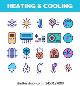Color Heating And Cooling System Vector Linear Icons Set. Heating And Cooling Air Conditioning Outline Symbols Pack. Temperature Control Equipment. Radiator, Fan, Thermometer Contour Illustrations