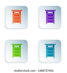 Color Hive for bees icon isolated on white background. Beehive symbol. Apiary and beekeeping. Sweet natural food. Set icons in colorful square buttons. Vector Illustration