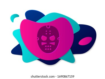 Color Hockey mask icon isolated on white background. Abstract banner with liquid shapes. Vector Illustration