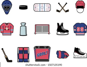 Color Hockey Vector Icon Set