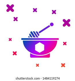 Color Honey dipper stick and bowl icon isolated on white background. Honey ladle. Gradient random dynamic shapes. Vector Illustration