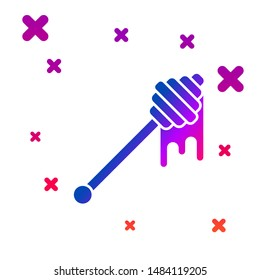 Color Honey dipper stick with dripping honey icon isolated on white background. Honey ladle. Gradient random dynamic shapes. Vector Illustration