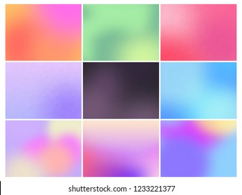 Color horizontal gradient backgrounds. Soft multicolored gradients. Vector set