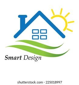 Color house icon logo vector illustration