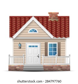 Color house with porch. Front view (facade) of single home. Qualitative vector illustration about architecture, building, real estate, construction, development, renovation, housing, etc