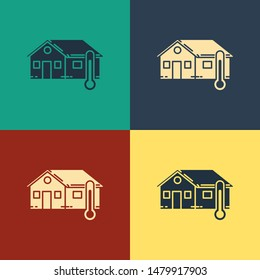 Color House temperature icon isolated on color background. Thermometer icon. Vintage style drawing. Vector Illustration