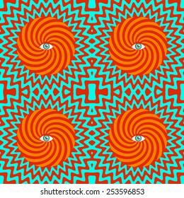 Color hypnotic retro seamless pattern