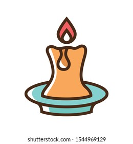 Color icon candle. Simple vector illustration with ability to change.