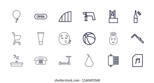 Color icon. collection of 18 color outline icons such as beach ball, nail gun, blowtorch, ampoule, memory card with music, spu, angle. editable color icons for web and mobile.