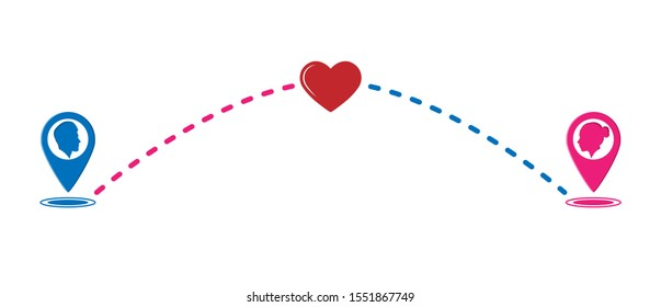 Color icon of love in the distance. Flat design.
