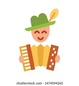 Color icon man plays accordion. With the ability to change the line thickness.
