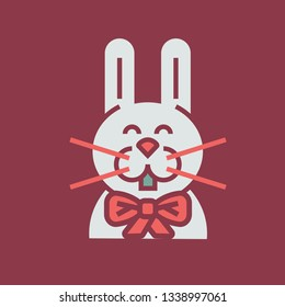 Color icon rabbit with bowknot