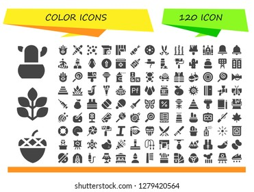 color icon set. 120 filled color icons. Simple modern icons about  - Cactus, Acorn, Spinach, Hamsa, Graphic design, Confetti, Juice, Wallpaper, Laser pen, Doughnut, Sabers, Seaweed