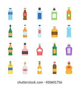 Color icon set - bottle and beverage