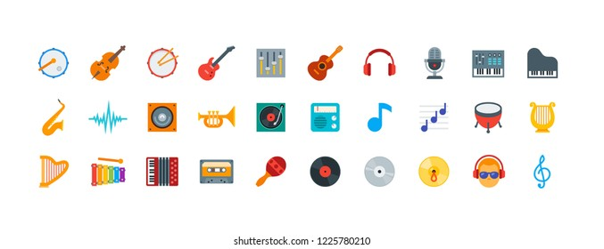 Color icon set contains 30 vector icons of sound, music and musical instruments for web, desktop and mobile applications