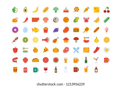 Color icon set contains 69 vector icons of food and drink for web, desktop and mobile applications