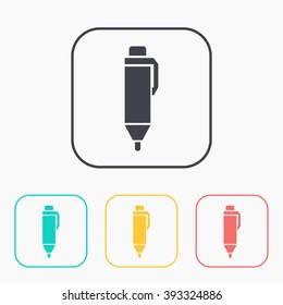 color icon set of pen
