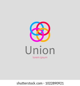 Color icon for union, association, league, community. Logo networking, colored connected rings. Vector illustration