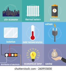 Color icons electricity, preservation, saving, temperature and city