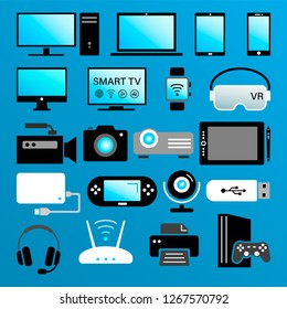 color icons of modern digital devices isolated on blue background