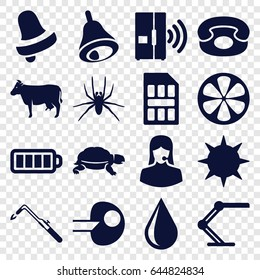Color icons set. set of 16 color filled icons such as cow, spider, turtle, bell, water drop, blowtorch, lemon, customer support, baterry, table lamp, bell, desk phone