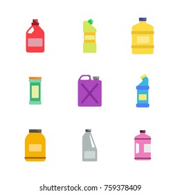 color icons set with bottles with cleaning chemical products  for your design