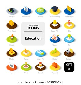 Color icons set in flat isometric illustration style, vector symbols - Education collection