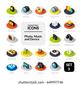 Color icons set in flat isometric illustration style, vector symbols - Photo music and device collection