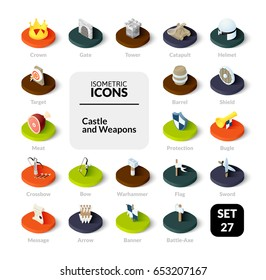 Color icons set in flat isometric illustration style, vector symbols - Castle and weapons collection