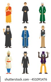 Color icons set of religion confession people Vector illustration