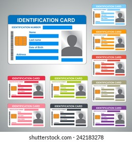 Color Identification Card/ID Card Isolated on Grey Background, 10 Difference Colors, Vector Illustration