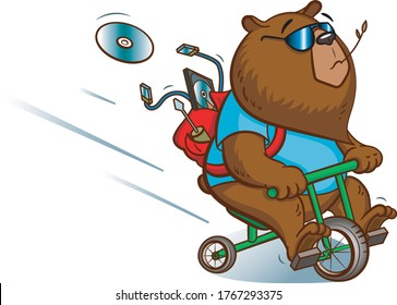 Color illustration of a bear who rides a bicycle, behind his back is a backpack with tools for fixing a computer, on a white background.