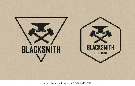 Color illustration of a blacksmith logo with grunge texture. Vector illustration of a hammer, anvil and text with background with grunge texture. Professional metal work