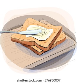 Color illustration of bread spread with cream cheese and butter on board