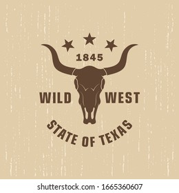 Color illustration of a buffalo skull, stars and text on a background with grunge texture. Vector illustration on the theme of US national culture. Symbols of the state of Texas.