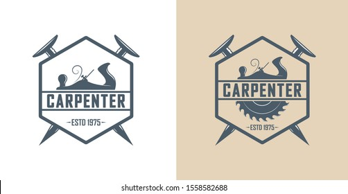 Color illustration of a carpenter workshop logo. Vector illustration of a planer, hammer, circular saw and text on the background. Workshop of service and repair of wooden products.