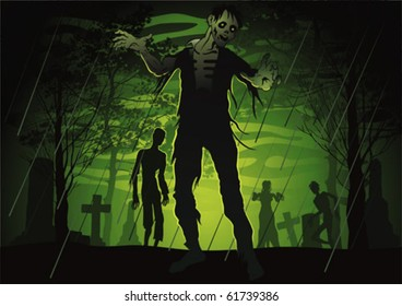 Color illustration of a cemetery with evil walking dead.