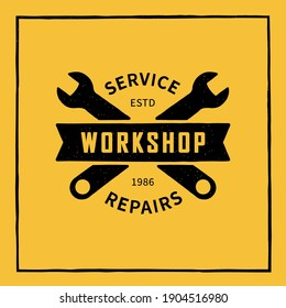 Color illustration of crossed wrenches, tape, text on a background with texture. Vector illustration in vintage style for emblem, print, banner. Service center advertisement. Workshop symbol.