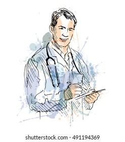 Color illustration of a doctor. Vector illustration