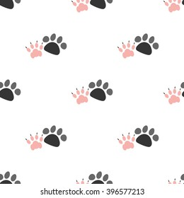 Color illustration of dog and cat paw print