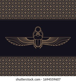 Color illustration of the Egyptian scarab beetle, personifying the god Khepri with seamless pattern. Symbol of the ancient Egyptians.