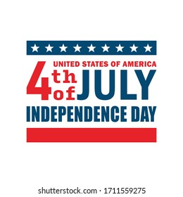 Color illustration of a flag, text, stars on a white background. Vector illustration on the theme of the USA Independence Day holiday. Freedom and democracy in the USA.
