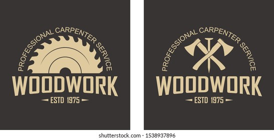 Color illustration logo of a workshop of wooden products. Vector illustration of crossed axes, nail, circular saw and text on a black background