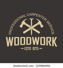 Color illustration logo of a workshop of wooden products. Vector illustration of a nail, hammers crossed and text on a black background. The illustration advertises the production, service and tinning